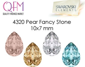 1pc 7x10mm 4320 SWAROVSKI® Undrilled Pear Fancy Stone, Drop stone for jewelry bases - Crystal, Golden Shadow, Vintage Rose, Light Turquoise