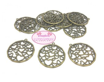 20 charms round Bronze with hearts