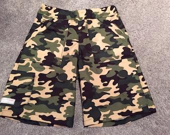 Boys Cargo Style Multi Pocket Shorts in Camo Red Green or Dog Bone.
