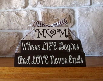 Personalized Mom Wood Blocks, Gift, Mother, Shelf Sitter, Mothers Day