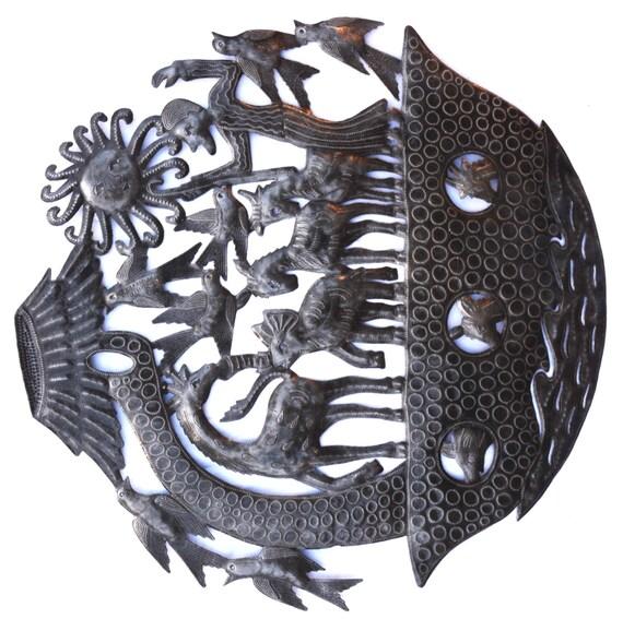 "Noah's Ark Wall Sculpture, Metal Wall Art, Fairtrade from Haiti, 23"" X 23"""