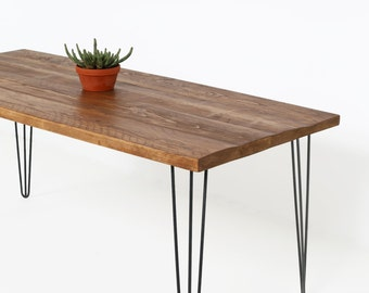 Kitchen Table, Beautiful Reclaimed Wood Kitchen Table set on Sleek and Sturdy Hairpin Table Legs