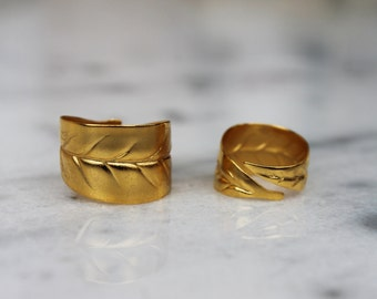 Ring/chevalier ring/handmade/bronze/gold-plated/24 carats/olive leaves/folium collection