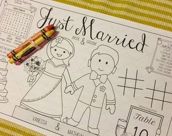 WEDDING-placemat,Kids activity-customized with names & wedding date