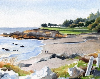 Moonstone Beach Art Print - California Watercolor Painting - Signed by Artist DJ Rogers - Wall Decor