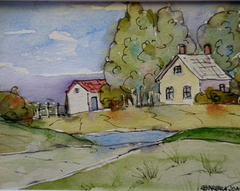 Watercolor and Ink,  Country Sketch, Landscape