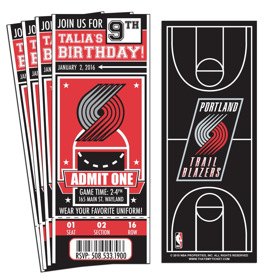 Portland Blazers Game: 12 Portland Trail Blazers Custom Birthday Party Ticket