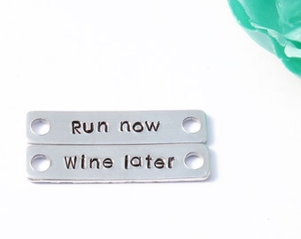 Running shoe tags - Run now wine later - Running tags - Half marathon - Athletic shoe tag