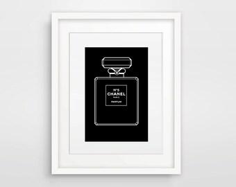 Chanel Art, Black And White Chanel Bottle, Fashion Print, Coco Chanel, Chanel Picture, Chanel Bottle Print, Chanel Perfume Print