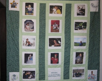 A Custom Photo Memory Quilt- any size, color combination!  Embroidered Designs & Wording added-free shipping!