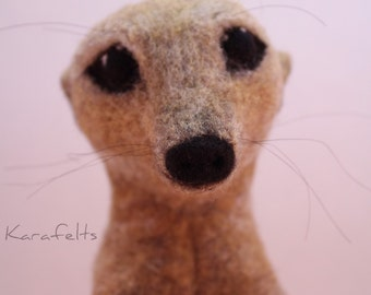 Needle felted meerkat sculpture
