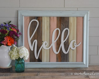 FINISHED Large Reclaimed Wood Hello Sign