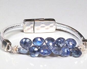 Kyanite Teardrop Stones and Silver Nappa Leather Bracelet