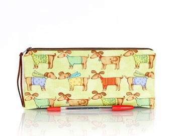 Dachshund pencil case, Dog pen bag, Make Up bag, Kids bag, Cosmetic case, Back to school, Pet, Teacher gift, Zipper pouch, School supplies