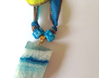 Boho chic druzy geode agate necklace on hand-dyed silk ribbon