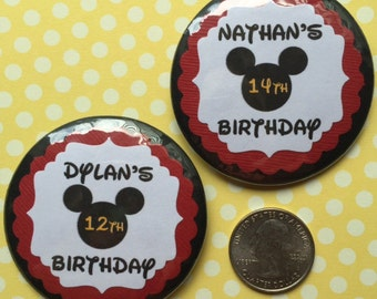 Disney Birthday Pin..4th Birthday Button..Disney Birthday Button..Customization to any age