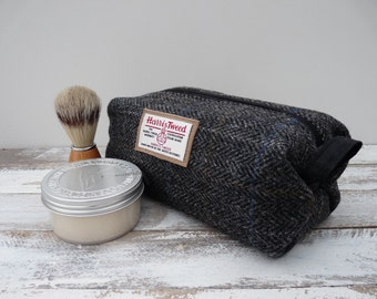 Harris Tweed Wash Bag, Shave Toilet Sponge Bag, Doop, Scottish Gift, Best Man Gift, Charcoal Herringbone