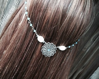Jewelry For Hair, Head Chain Accessory, Light Blue Hair Jewelry, Chain Head Piece, Hair Accessory