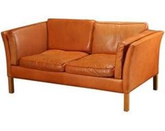 Danish Modern Loveseat Upholstered in Leather