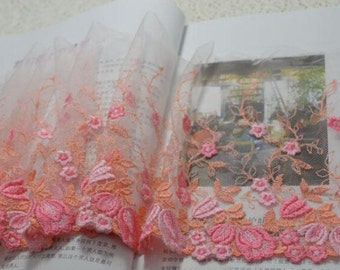 """5 meter 18cm 7.08"""" wide pink mesh embroidery lace trim ribbon L20H43 free ship"""