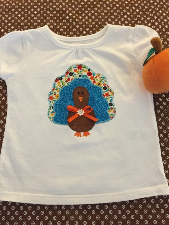 Thanksgiving turkey appliqué top for infant and toddler girls
