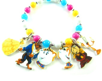 Beauty and the Beast Charm Bracelet, Beauty and the Beast Jewelry, Beauty and the Beast Birthday, Beauty and the Beast Party Favors