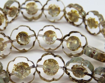 Clear Glass Flower Hawaii Plumeria 14mm Czech Picasso Glaze Carved Table Cut Coin 6 Beads PTCHA022