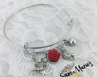 Silver White Rabbit Bangle Bracelet