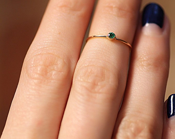 Peridot Gold Ring Natural Stone May Birthstone Simple Wedding Minimalist Dainty Engagement Gemstone Jewelry Stackin...