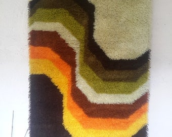 seventies, seventies, vintage tapestry XL tapestry rug, desso carpet, funky home deco, retro tapestry, boho dress long-pile,