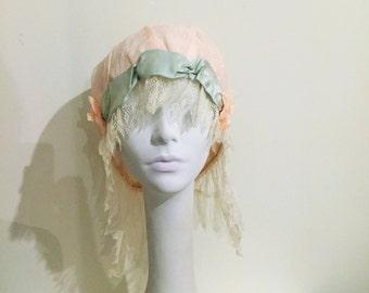 Night Cap Boudoir Cap ~ Lace  And Silk