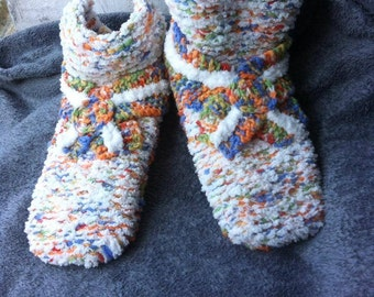 multicolored slippers / knitted slippers / slippers adult / adult slippers