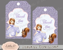 Sofia the First Thank you Tag. Party Bag Tag. Favour Tag. Gift Bag Tag. Sofia Thank you Tag. INSTANT DONWLOAD