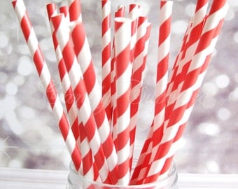 RED WHITE STRIPE, 25 Paper Straws With Red & White Stripes, Candy Cane Straws, Birthday Paper Straws