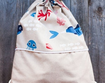 LOT-FISH print cotton BACKPACK. Perfect for the nursery