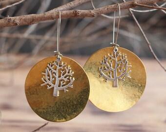 Brass Earrings - Textured Brass Earrings - Hammered Brass Earrings - Contemporary Earrings - Boho Earrings - Ethnic Earrings - Brass Jewelry