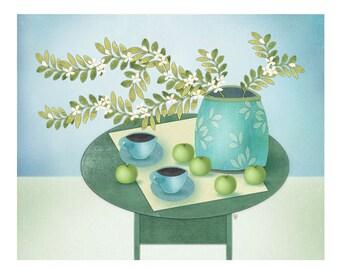 Contemporary Folk Art Botanical Still Life, Giclee Print, Still Life with Green Apples