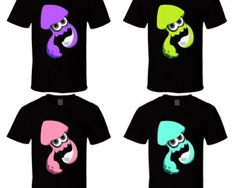 Splatoon Squids - Choose a Color or Character - Black T-Shirt