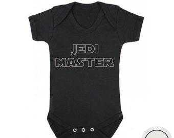 Jedi master baby boy bodysuit black and white, star wars onesie, star wars baby clothes, gift for baby boy, baby shower gift,