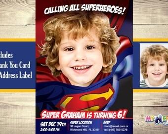 Superman Birthday Invitation. Superman Invitation, Superman Party Ideas. Superman Birthday Ideas. Superman Celebration. Your boy as Superman