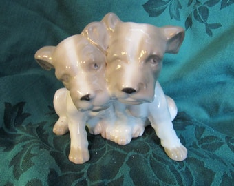 Pit Bull Puppies Figurine, Vintage Dogs