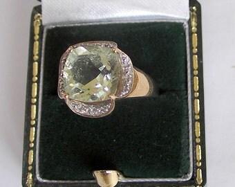 Vintage 9ct Yellow Gold, Prasiolite Green Amethyst & Diamond Ring