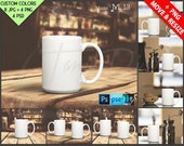 Dishware #M13BG1 White Coffee Mug on Wooden Table Bar & Cafe, Set of 2 Mugs, Mug Display Mockup, 8 JPG scenes PSD Smart object Custom colors