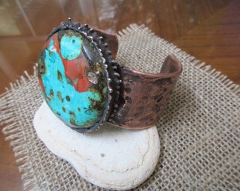 """Roystone Copper Cuff Bracelet.  51mm Large Round Stone on 0.13"""" X 1.25"""" thick and wide copper Cuff."""