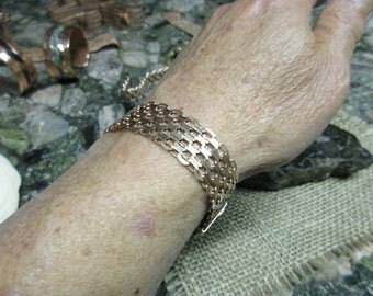 "Copper Chain Bracelet #3. with Magnetic Clasp. 0.5"" wide."