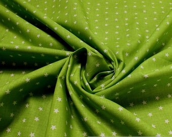 Fabric for children pure cotton poplin little stars lime green white