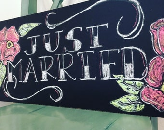 Just Married Traditional Tattoo Style Chalkboard Sign