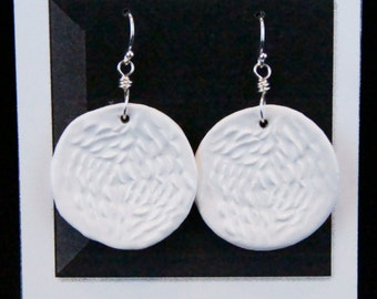 White Ceramic and Sterling Silver Dangle Earrings