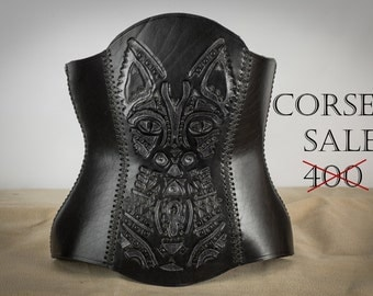 Leather corset, with cat