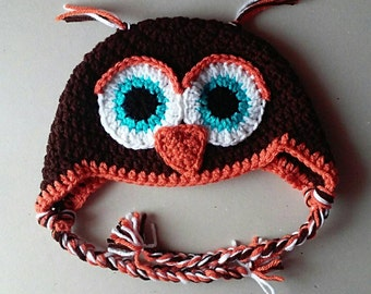 Owl Hat with Ear Flaps, Photo Prop